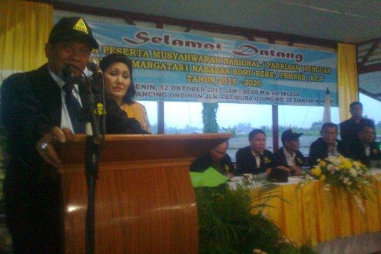 Ketua Umum Terpilih Dr Capt Anthon Nababan MSc memberikan kata sambutan (foto : Ramlan Nababan)